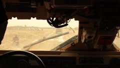 Inside MAT-V(MRAP) Mine Resistant Vehicle Traveling in Afghanistan (HD)c - stock footage