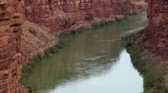 Rafts and Kayaks on the Colorado River Stock Footage