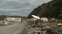 Japan Tsunami Aftermath - Destruction In Port Area Stock Footage