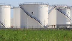 Oil storage tanks in Antalya, Turkey Stock Footage