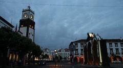 Ponta Delgada by night Stock Footage