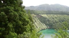Lagoa Santiago panning Stock Footage