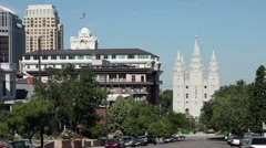 Mormon Temple Salt Lake City street P HD 9233 Stock Footage