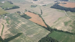 Aerial view of farm country Stock Footage
