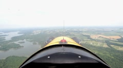 Flying an airplane first person point of view Stock Footage