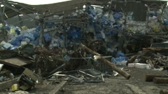 Japan Tsunami Aftermath - Destroyed Factory Building - stock footage