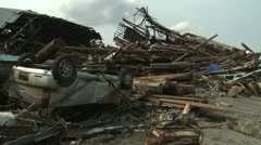 Japan Tsunami Aftermath - Crushed Car And Timber Stock Footage