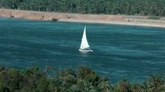Nile river, Sailing ship cruise, felucca, Egypt, Aswan Stock Footage