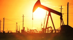 Crude Oil Production in the Desert Stock Footage