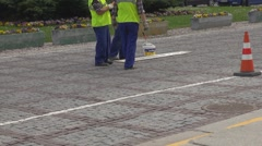 Worker man marking the street Stock Footage