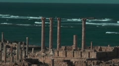 Ancient site, Roman City, Sabratha, Libya Stock Footage