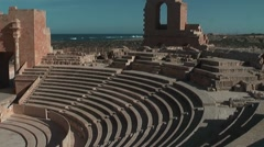 View of audience seats of ancient theater in  Sabratha, Libya Stock Footage