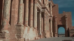 Stage at ancient theater, Roman site - Sabratha, Libya Stock Footage