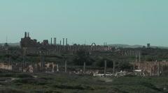 Roman settlement - Leptis Magna, Tunisia, Africa Stock Footage