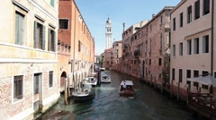 Venice wood water taxi canal P HD 1043 Stock Footage