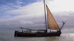 Historic sailing ship at Dutch wadden islands Stock Footage