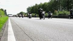 Lots of motorcycle biker on german highway - stock footage