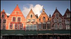 The Original Architecture of buildings in Burg Square Bruges, Belgium, T/Lapse Stock Footage