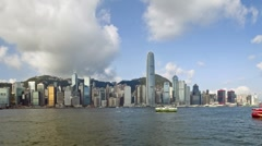 Business district with Bank of China Tower, Victoria Harbour, Hong Kong, T/Lapse Stock Footage