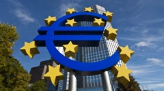 Stock Video Footage of Euro currency sign, European Central Bank in Frankfurt Germany, T/Lapse
