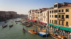 Venice, from Rialto Bridge along the Grand Canal, Italy, T/Lapse - stock footage