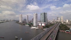 Bangkok and the Chao Phraya River with Modern Motorway system, Asia, T/Lapse Stock Footage