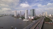 Stock Video Footage of Bangkok and the Chao Phraya River with Modern Motorway system, Asia, T/Lapse