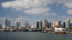 City of Dubai and river, Arabian Peninsula, UAE - T/lapse Stock Footage