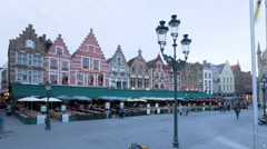Panning T/lapse of the Old Town Square in Bruges, Belgium Stock Footage