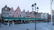 Stock Video Footage of Panning T/lapse of the Old Town Square in Bruges, Belgium