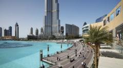 Development of city Malls, Walkways, Marinas, Dubai City, UAE, T/Lapse Stock Footage