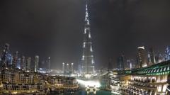 The Burj Khalifa Dubai at night a Futuristic Structure, UAE, T/Lapse - stock footage