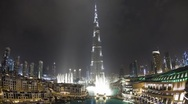 The Burj Khalifa Dubai at night a Futuristic Structure, UAE, T/Lapse Stock Footage