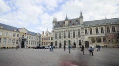 View of City Hall and Historic buildings in Burg Square Bruges, Belgium, T/Lapse Stock Footage