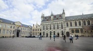 Stock Video Footage of View of City Hall and Historic buildings in Burg Square Bruges, Belgium, T/Lapse