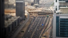 Selective Focus, Sheikh Zayed Rd Intersection with traffic, Dubai, UAE, T/Lapse - stock footage