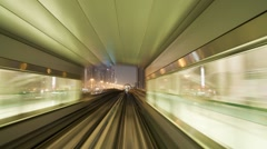 Modern Driverless Dubai Elevated Rail Metro System, UAE, T/Lapse - stock footage