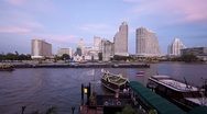 Stock Video Footage of Water taxis in natural and Illuminated light Chao Phraya River, Bangkok, T/Lapse