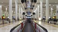 Time Lapse, Modern escalator with passengers Dubai Airport, UAE Stock Footage