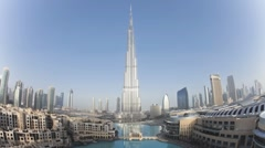 The Burj Khalifa Dubai at dawn, Futuristic Design Structure, UAE, T/Lapse - stock footage