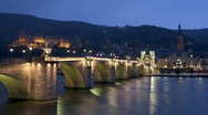 Stock Video Footage of Old Bridge over the River Neckar and Heidelberg Castle, Germany, T/Lapse