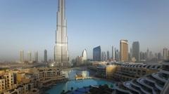 The Burj Khalifa Dubai at dawn, Futuristic Design Structure, UAE, T/Lapse Stock Footage