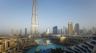 Stock Video Footage of The Burj Khalifa Dubai at dawn, Futuristic Design Structure, UAE, T/Lapse