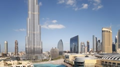 Modern Shopping and Mall Development and the Burj Khalifa, UAE, T/Lapse Stock Footage