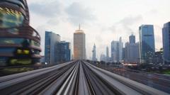 The Modern Dubai Elevated Rail Metro System, Sheikh Zayed Rd, UAE - stock footage