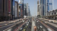 Dubai, Sheikh Zayed Rd, traffic and new high rise buildings, UAE, T/Lapse Stock Footage