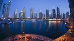 WA, Dubai Marina T/lapse dusk to night transition, Dubai, UAE Stock Footage