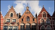 Stock Video Footage of The Original Architecture of buildings in Burg Square Bruges, Belgium, T/Lapse