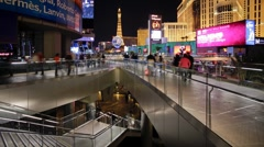Elevated Walkway in the Illuminated resort of Las Vegas, USA, T/Lapse Stock Footage