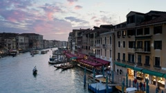 Early evening view looking north along the Grand Canal, Venice, Italy, T/Lapse Stock Footage